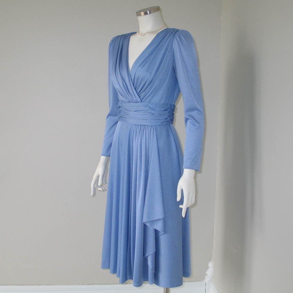 Vintage 1970s Dinner And Dancing Faux Wrap Dress
