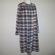 Vintage Late 1960s Early 1970s Smocked Madras Plaid Shift Dress Navy Blue M L