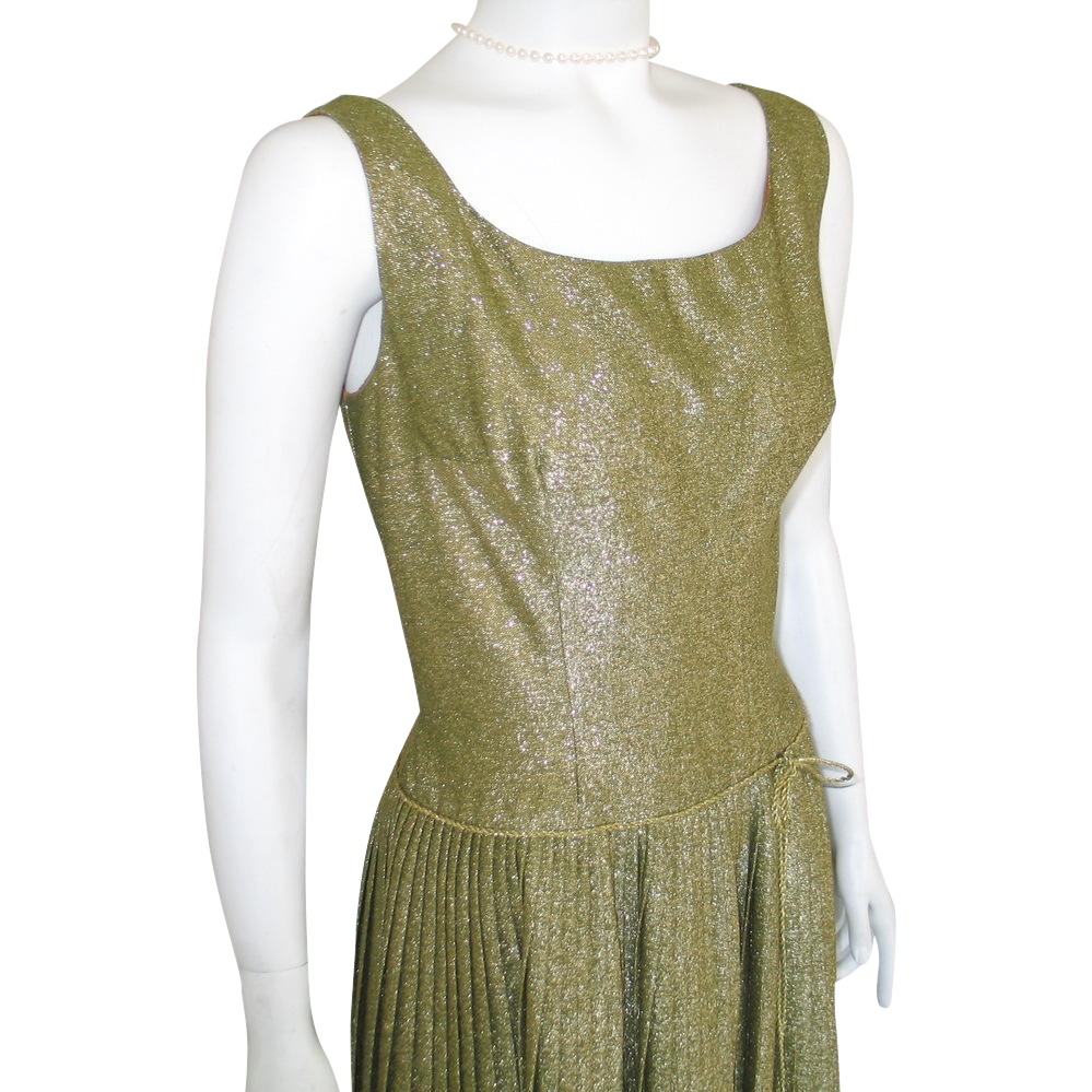 Vintage 1960s Shimmering Party Cocktail Dress Gold Lurex Drop ...