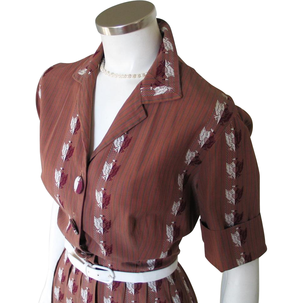 Vintage 1950s Brown Striped Fit and Flare Shirtwaist Dress with Jacquard Embroidered Eagle Crest M L