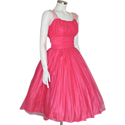 Vintage 1960s Shimmering Hot Pink Fit and Flare Cocktail Party Dream Dress XS S