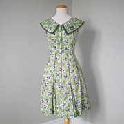 Vintage 1940s 1950s Day House Dress Olive Green Purple Cream Floral Garden Lattice Novelty Print S