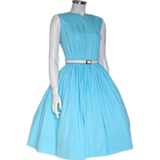 Vintage 1960s Turquoise Blue Sleeveless Spring Day Dress M