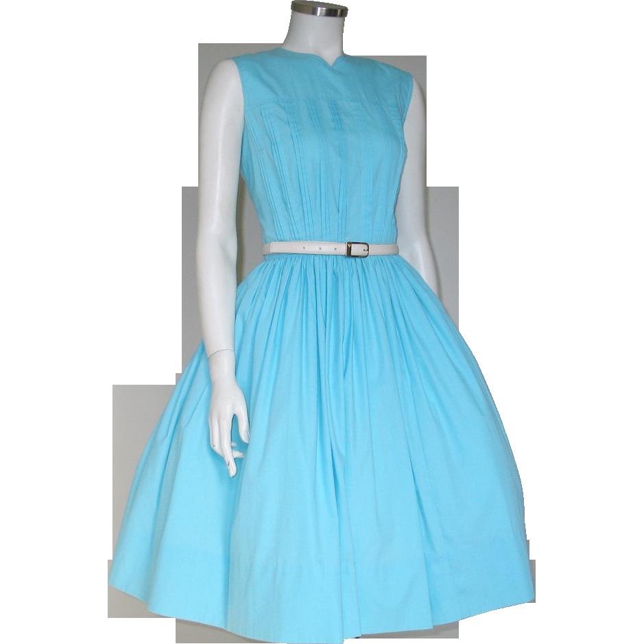 Vintage 1960s Turquoise Blue Sleeveless Spring Day Dress M