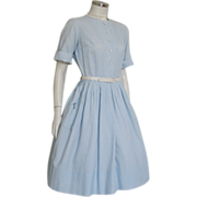 Vintage 1960s Light Blue and White Striped Spring Summer Dress  S M