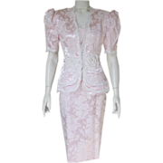 Vintage 1980s Pastel Pink Brocade Spring Summer Dress Suit McClintock MOB MOG S