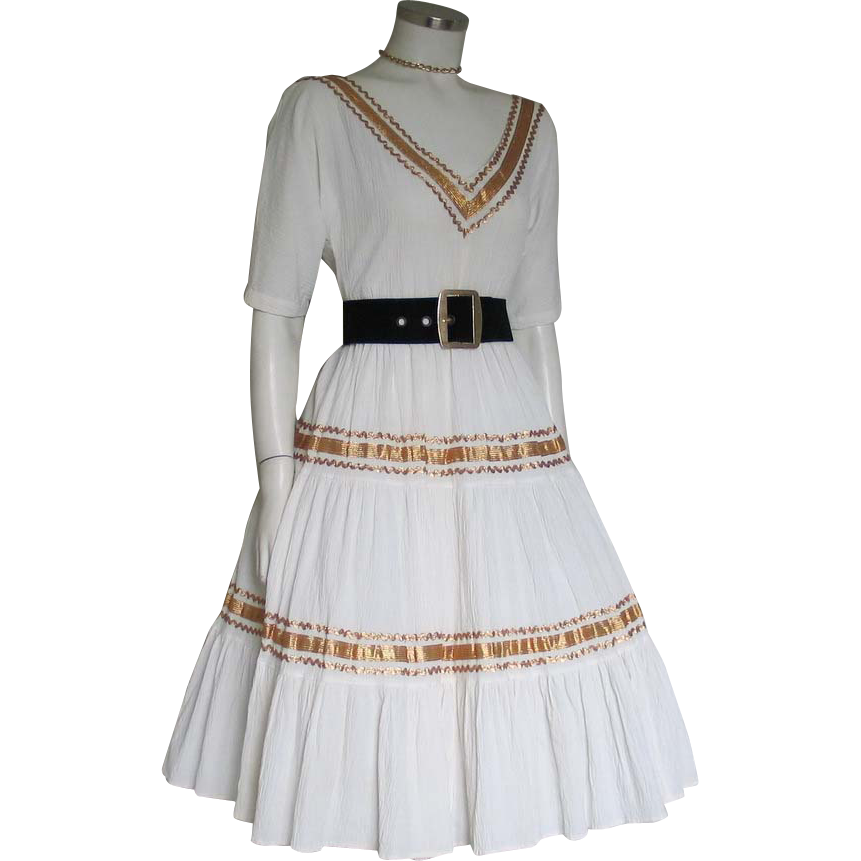 Vintage 1970s Creamy White Crinkle Western Patio Cowgirl Dress with Shiny Gold RicRac Trim