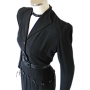 Vintage 1940s Femme Fatale Black Paul Parnes Peplum Dress with Slim Zippered Sleeves M