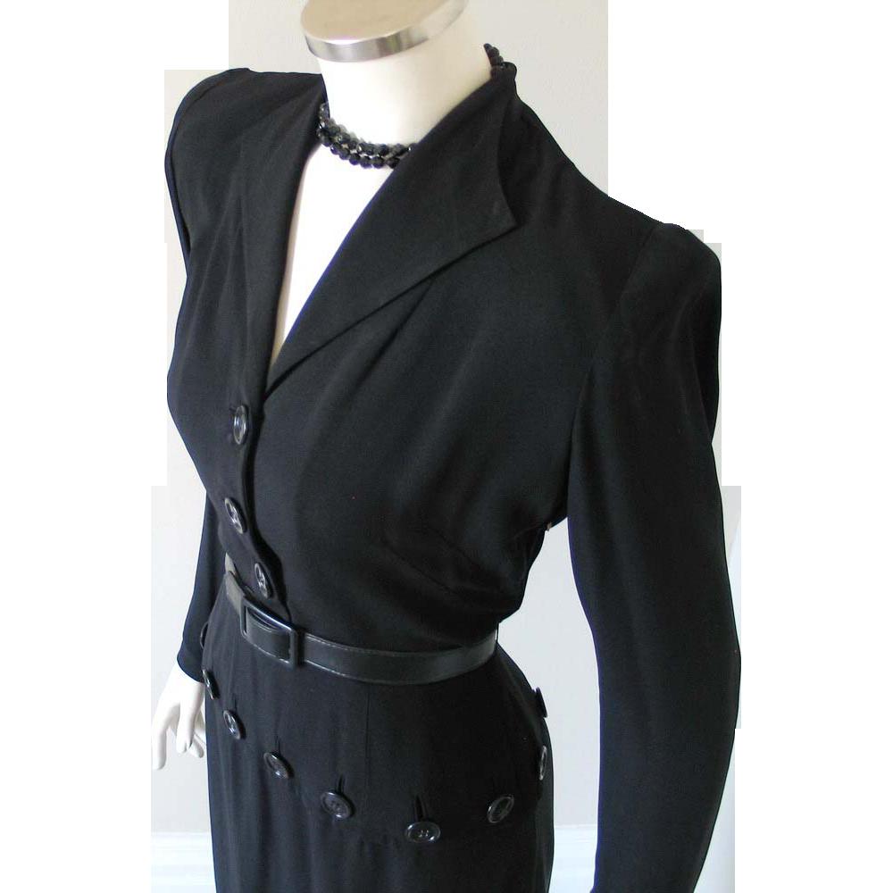 Vintage 1940s Femme Fatale Black Paul Parnes Peplum Dress with Slim Zippered Sleeves M