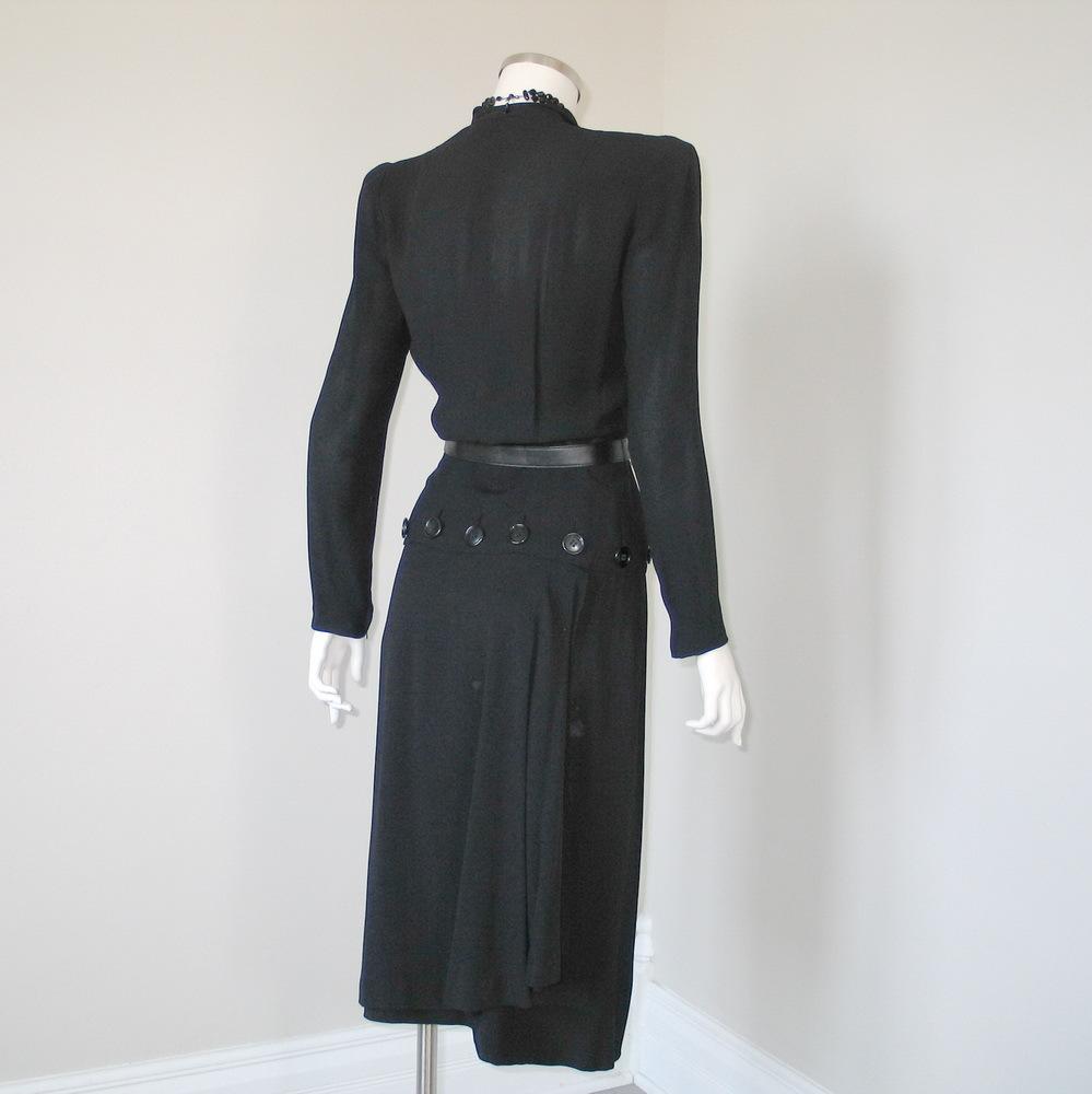 Vintage 1940s Femme Fatale Black Paul Parnes Peplum Dress with ...