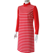 Vintage 1960s 1970s Mod Red and White Striped Roll Neck Ribbed Knit Shift Dress M