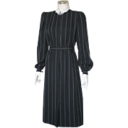 Vintage 1970s Black Day Office Dress with White Pinstripes and Contrast Collar M L