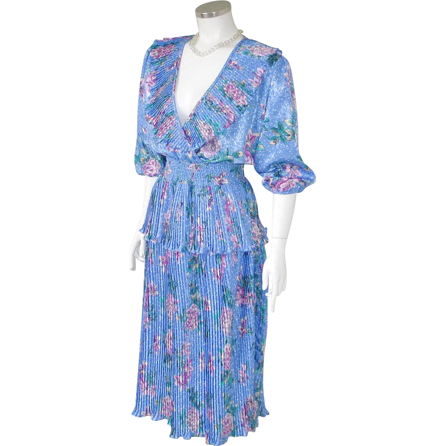 Vintage 1980s Authentic Susan Freis Periwinkle Peplum Polka Dot Flowers Ruffle Dress