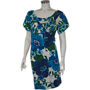 Authentic Vintage 1960s Blue Floral Print Tiki Dress by Alice L XL