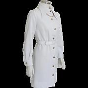 "Vintage 1970s White ""Trio of Dallas"" Mini Dress with Shiny Gold Metallic Buttons M"