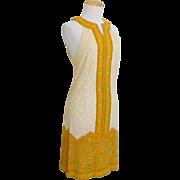 Vintage 1960s Mr. Dino Mod Halter Cut In Paisley & Geometric Print Dress Yellow Orange White Black