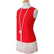 Vintage 1970s Micro Mini Red Dress with White Fringe Hem