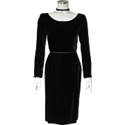Vintage 1960s Black Velvet Dress by Gay Gibson with Satin Trim LBD S