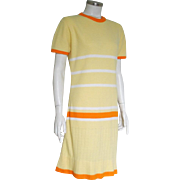 Vintage 1970s Sabra Yellow Orange White Stripe Sweater Knit Dress M L