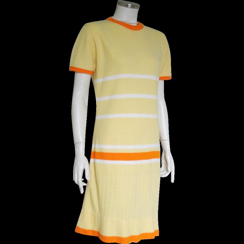 Vintage 1970s Sabra Yellow Orange White Stripe Sweater Knit Dress M L
