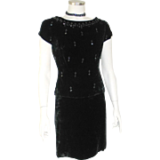 Vintage 1950s Black Beaded Velvet 2 Piece Cocktail Party Holiday Dress  S