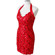 Vintage 1970s Bari-Jay Lipstick Red Sequinned Body Hugging Halter Cocktail Dress S