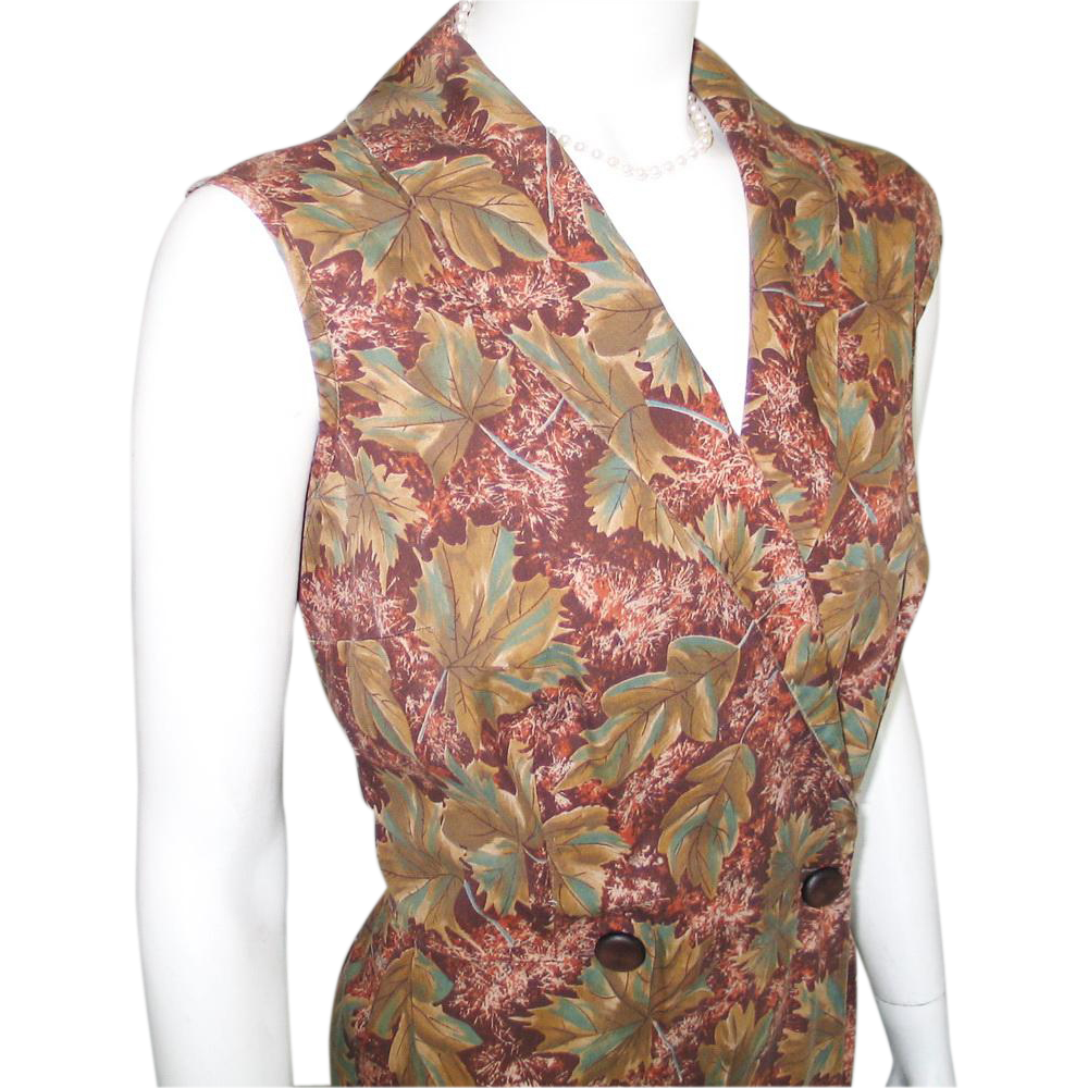 Vintage 1960s Autumn Leaf Print Wrap Dress Brown Chestnut Teal Olive  L XL
