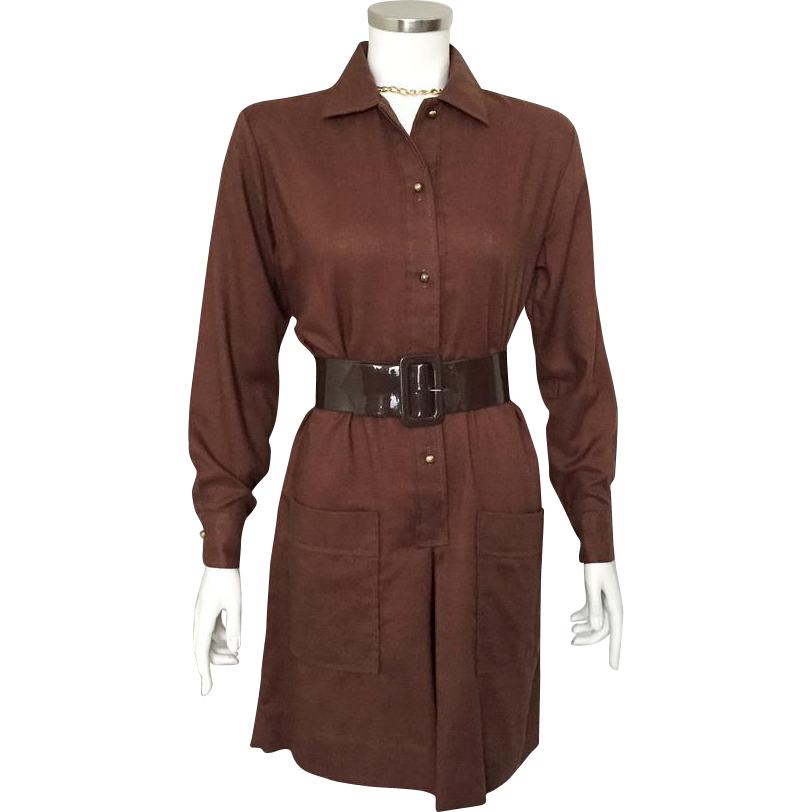 Vintage 1960s Carol Brent Dark Brown Shirtwaist Scooter Skort Jumpsuit Dress