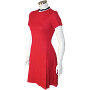 Authentic Vintage 1960s Little Red Dress S XS