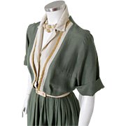 Vintage 1960s Shirtjac Shirtwaist Dress 3 Tone Green Cream Harvest Gold M
