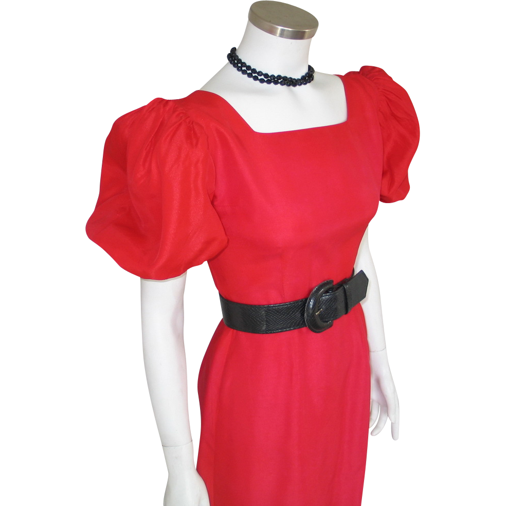 Vintage Early 1960s Crisp Holly Red Party Dress with Lace Over Skirt and Huge Puff Sleeves  XS S