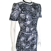 Vintage 1980s Black and White Floral Print Cotton Day Dress with White Piping by Lanz M Office Manager