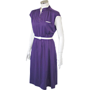 Authentic Vintage 1970s Modern Grape Purple with White Trim Knit Day Dress M