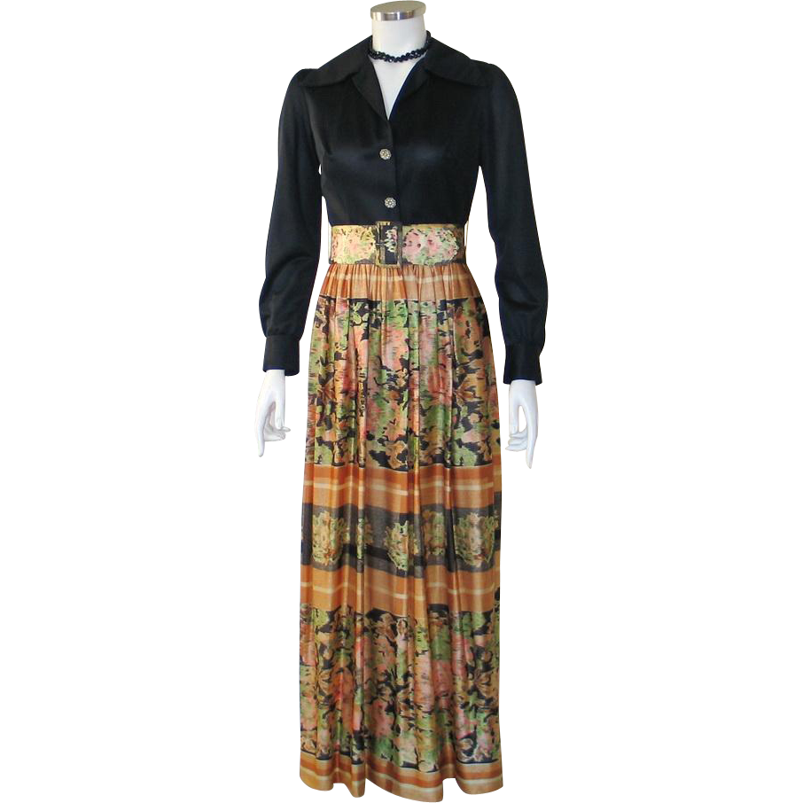 Vintage 1970s Black Hostess Gown Maxi Dress with Print Skirt and Wide Matching Belt