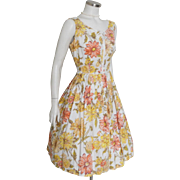 Vintage 1960s Orange Yellow White Flower Print Spring Summer Dress with Bows M