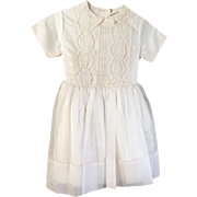 Vintage 1960s 1961 Flower Girl First Communion Little Girls White Dress with Lace Trim 6X Kate Greenaway