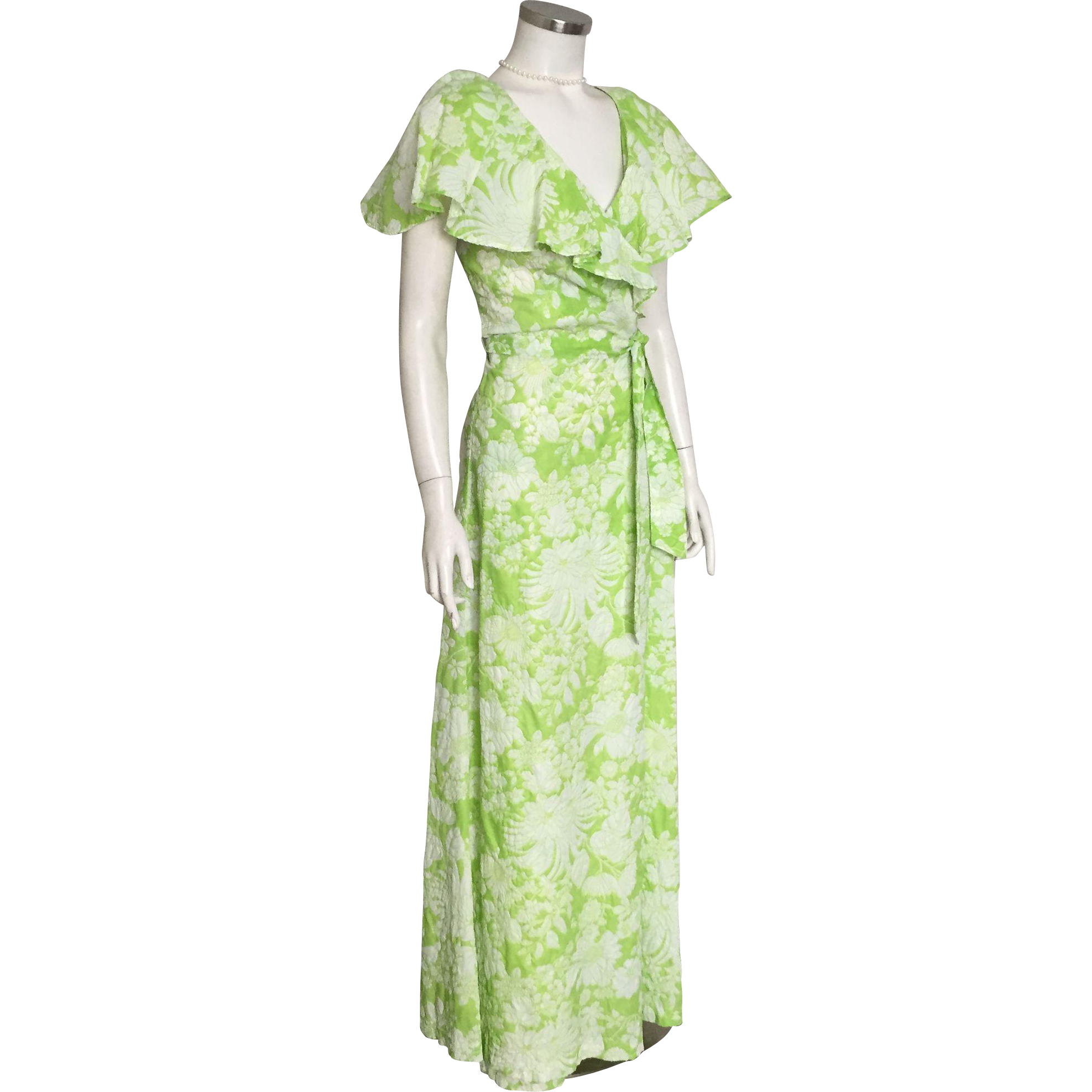 Vintage 1970s Lime and White Huge Floral Print Wrap Dress Maxi with Enormous Ruffle Collar M