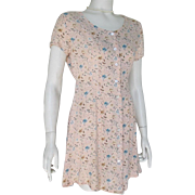 Vintage 1990 Spring Pastel Peach Sage Blue Tiny Floral Print Baby Doll Tie Back Dress S M