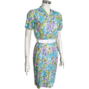 Vintage 1960s Lightweight Spring Summer Abstract Watercolor Floral Print Blue Green Purple White S