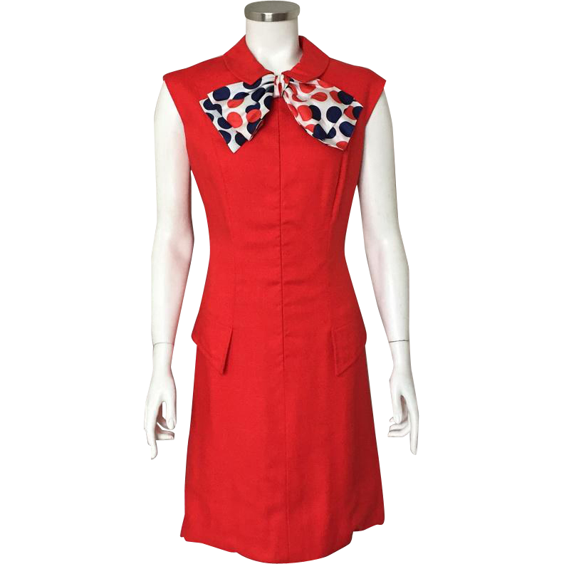Vintage 1960s Red Linen Weave Summer Sheath Dress by Adele Simpson with Red White and Blue Polka Dot Scarf M