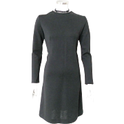 Vintage 1970s Sleek Mod Black Bobbie Brooks LBD Wool Knit Sheath Dress S