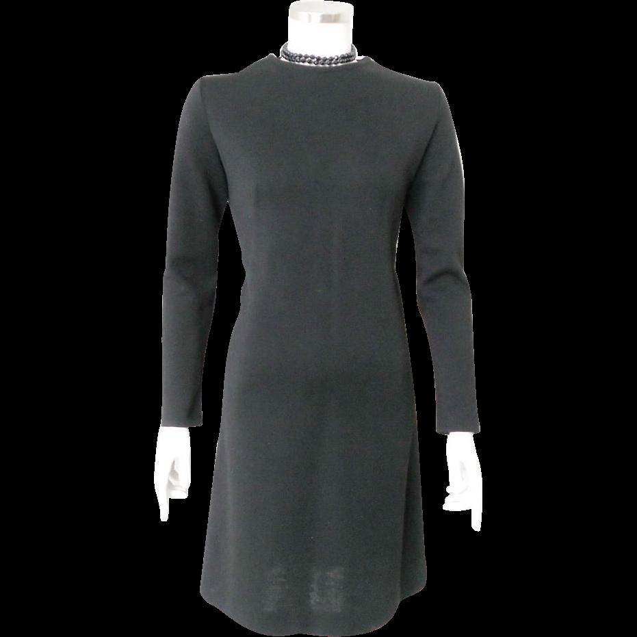 Vintage 1970s Sleek Mod Black Bobbie Brooks LBD Wool Knit Sheath Dress S