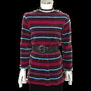 Vintage 1970s Jane Colby Velour Tunic Micro Mini Dress Tunic Top M