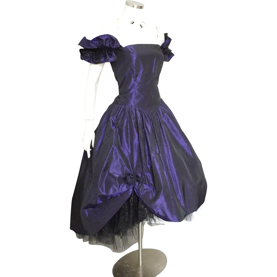 Vintage 1980s Satin Crinoline Evening Party Dress Midnight Blue Deep Purple Black Sharkskin S