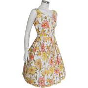 Vintage 1960s Orange Yellow White Flower Print Summer Dress with Bows M