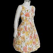 Vintage 1960s Orange Yellow White Flower Print Summer Dress with Bows M