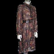 Vintage 1970s Sheer Autumn Leaves Brown Orange Gold Ruffled Dress M