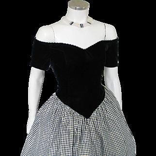 Vintage 1980s Black Velvet Sweetheart Princess Party Dress with Shimmering Gold Plaid Taffeta Skirt M