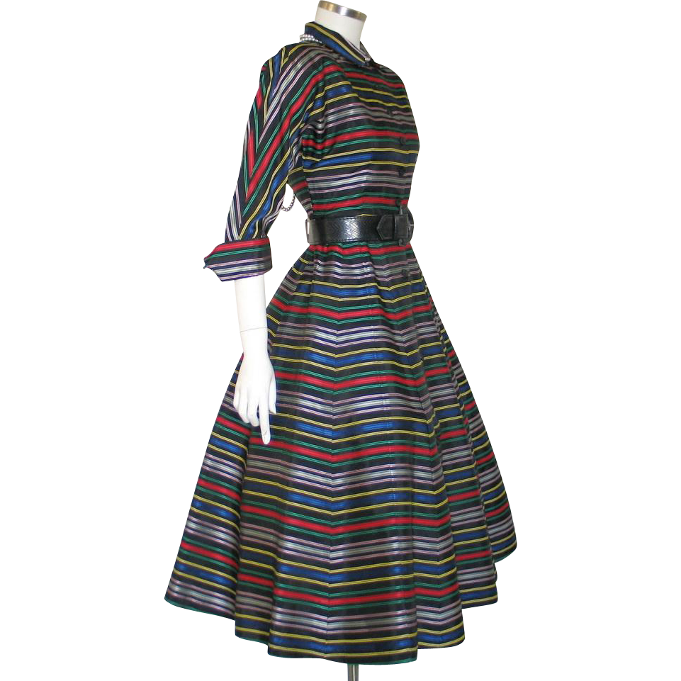 Vintage 1950s Bright Ribbon Stripe Dolman Fit and Flare Dress with Full Skirt S