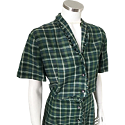 Vintage 1950s Green Teal and White Plaid Day Dress L XL